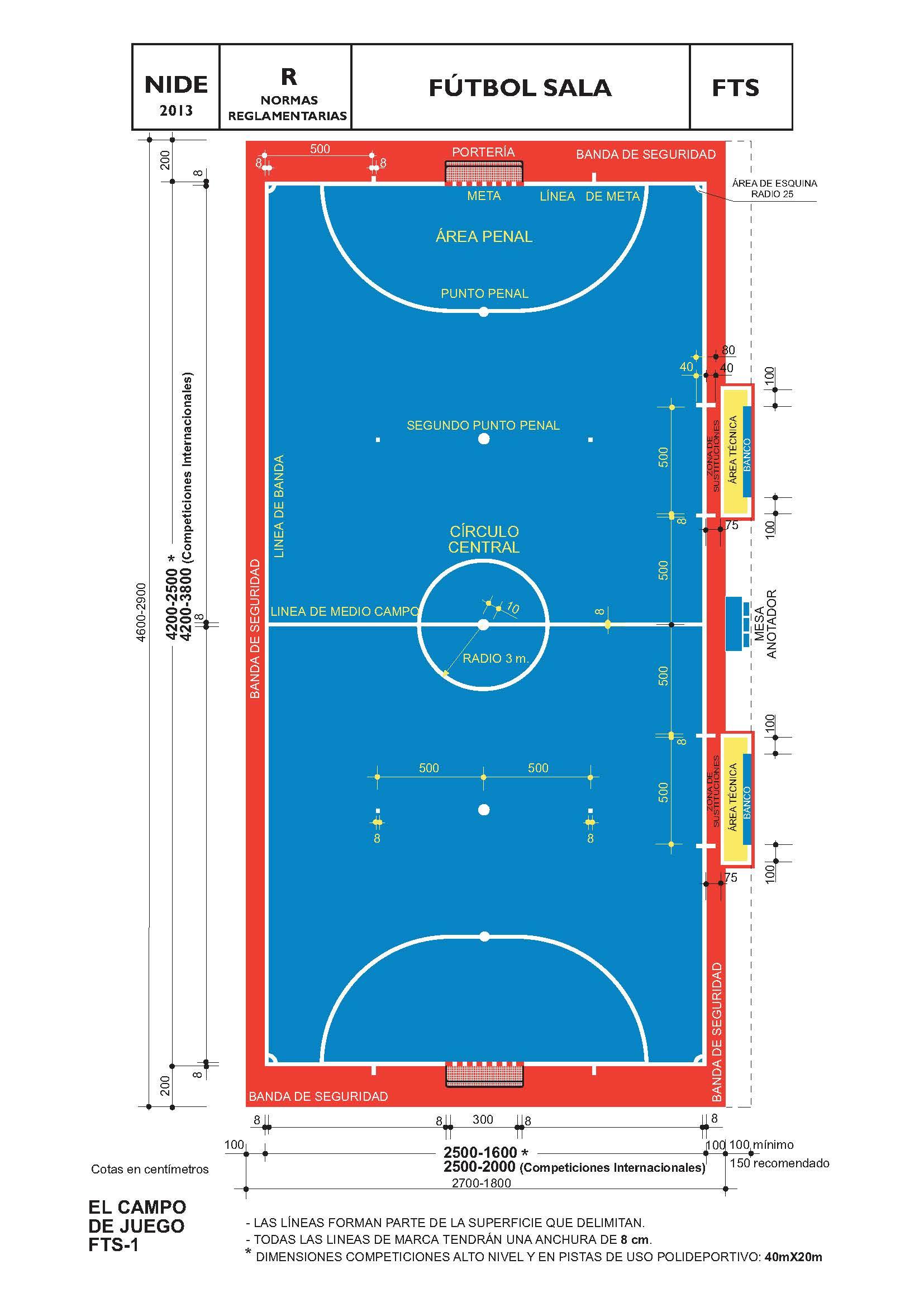 Empresa construcci n pistas deportivas alicante for Pista de futbol sala medidas