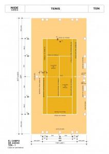 Dimensiones de pista de tenis