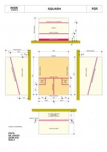 Dimensiones de pista de Squash